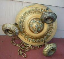 Antique Art Deco gold metal 3 lite ceiling light fixture  chandelier Salvage