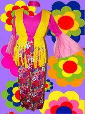 218✪ Hippie Kostüm Prilblumen Schlaghose Oberteil mit Trompetenärmel 70er Jahre