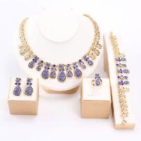 Fashion Women Rhinestone Crystal Necklace Bracelet Earrings Ring Jewelry Set