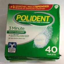 Polident Antibacterial Denture Cleanser, 3 Minute, 40 Tablets