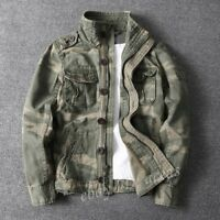 Mens Camouflage Combat Field Jackets Vintage Military Pockets Outdoor Army Coats