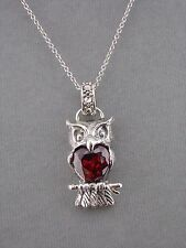 925 Sterling Silver Owl Necklace Red Crystal Heart Center Jewelry NEW
