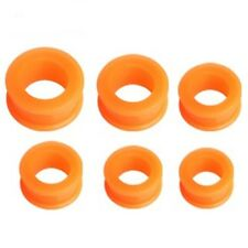 "PAIR-Flexi Orange Double Flare Silicone Ear Tunnels 16mm/5/8"" Gauge Body Jewelr"