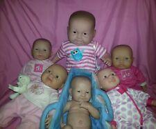 "JC Toys La Newborn Vinyl Berenguer Baby Doll 20"" with teeth 15"" lot of 6"