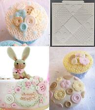 Fondant Patchwork Quilt Knitting Buttons Mat Mould Cake Sugarcraft Decor Mold