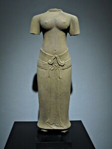 SCULPTURE KHMER SANDSTONE FEMALE TORSO FIGURE ANGKOR WAT BAYON STYLE 13TH C