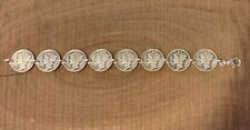 """Mercury Dime Coin Jewelry Bracelet 7"""" 90% Silver With .925 Links!"""