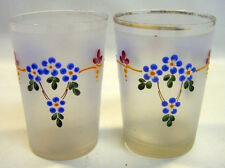 Antique 1850's Pair of Frosted Enameled Bohemian Glass Tumbler Cups Beakers