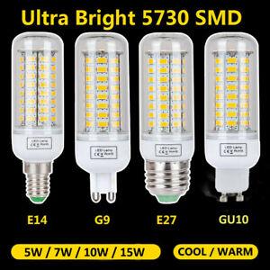 LED 5730 SMD Mais Leuchtmittel Glühbirne Birne Licht Lampe E27 E14 GU10 G9 15W