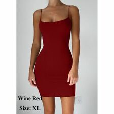Cotton Solid Color Women Sexy Dress Package Hip Spaghetti Strap Mini Dresses