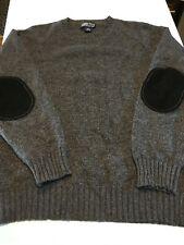 VTG 90s LANDS END Crewneck Cashmere Sweater Gray M USA Elbow Patches Preppy