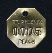 30mm Ft Fort Phoenix 0005 Beach Keychain Fob Vintage brass plaque tag