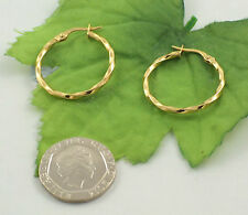 Sassi SIL1312Y Ladies 375 9ct Yellow Gold Creole Hoop Wedding Band Earrings