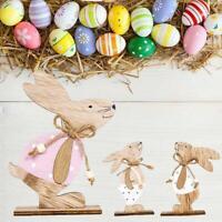 Wooden Rabbit Pendant Happy Easter Door Hanging Ornaments Sign Home Decor