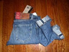 $148 LEVIS 511 OLD BOY WASH RIPPED RED LINE SELVEDGE SLIM ZIP FLY JEANS 31x34