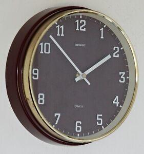 Vintage 22cm Metamec Wall Clock - Maroon Retro Mid Century 1960s Red Kitchen
