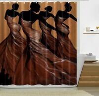 Shower Curtain Hooks Shower Cover Liner African Women Painting Bathroom Decor