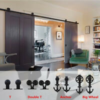 4-14FT Sliding Barn Wood Door Hardware Track Kit for Single/Double Door