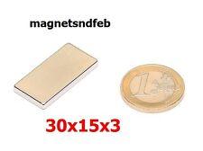 Blockmagnet Neodym-Magnete 30x15x3 Quader