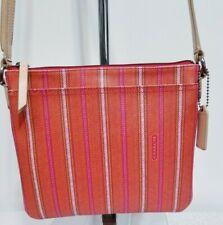 New listing COACH STRIPED Legacy WEEKEND Ticking Swingpack CROSSBODY 49249 Pink Lime HANDBAG