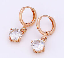 de luxe Boucles d'oreilles pendantes créoles Zircon Plaqué Or 750 18 carats