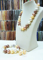 14MM AAA multicolor South Sea shell pearl necklace bracelet earrings set LL008