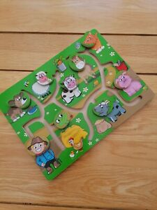 Toddler Wooden Farmyard Moving Heads Puzzle Toy Delta Sport