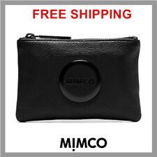 Authentic Mimco BLACK matt Leather MIM Small Pouch Wallet Purse DF