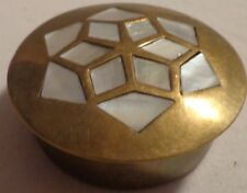"""Vintage Compact Pill Trinket Snuff Box 2"""" Round Inlaid Mother Of Pearl Brass"""