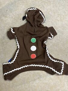 """CASUAL CANINE Christmas Hoodie PAJAMAS """"GINGERBREAD MAN"""" Brown Puppy/Dog xsmall"""