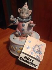 Vintage Signed Schmid Kitty Cucumber Figurine Clown Pastel Music Box Cat