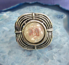 Ring Vintage Style Tibet Silver square Shell Mother Of Pearl brown white in