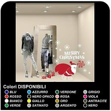 Adesivi Babbo Natale Pacchi e Neve - Vetrofanie natalizie - Adesivi 100x70 cm