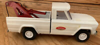 Vintage Tonka White Pressed Steel 1960's Wrecker Tow Truck 9 Inch Nice Working
