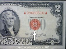 1953 ERROR $2 RED SEAL 3rd Print Shift US Note ~ NICE VF Currency LOT #510  NR
