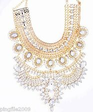 New Fashion Ancient Gold Rhinestone/crystal Bib Statement Glass Chunky Necklace