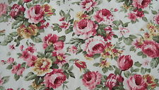 Pink Rose on a Cream Background 100% Cotton Fabric - PER METRE
