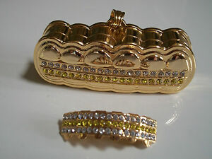 Men's Gold finish Clear/Yellow Stones For Bottom Teeth Mouth Grillz Holder & Box