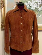 NEW COLDWATER CREEK RUST CLR SUEDE SEAMED SNAP FRT LINED JACKET SZ PXS/PETITE 4