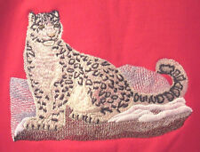 Embroidered Long-Sleeved T-Shirt - Snow Leopard M2110 Sizes S - Xxl