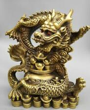 China's Seiko carving pure brass Millennium dragon coin wealth big statue