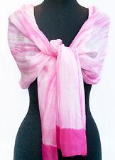 "Pink, Hand-Dyed, Shibori, Silk Scarf. 72"" x 20"" Chiffon. Tie-Dye, India, Bandhej"