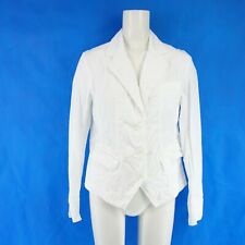 Sem Per Lei Ladies Summer Blazer Jacket Size 36 S Cotton Spandex White Np 169