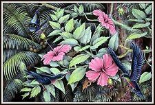 """Keliki Kawan Miniature Flora & Fauna Painting from Bali"" Signed(5 5/8H x 8.75W)"