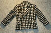 Vtg Crisca Escada Black and Tan Houndstooth 100% Virgin Wool Lined Blazer Sz 38