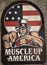 """Muscle Up America Embossed Die Cut Metal Sign Uncle Sam 18"""" x 12"""""""
