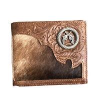 Mens Western Cowboy Wallet Genuine Leather Short Bifold Wallet for Men Gun
