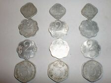 "INDIA COINS LOT- 12  ""1, 2 & 3  PAISE"" OLD COINS- ODD-SHAPE-RARE-1965-1975#11BJ5"
