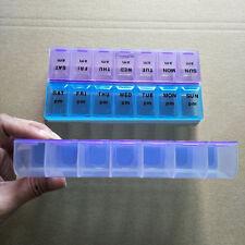 7 Day Tablet Pill Medicine Storage Box Organizer 14 Separate Dispenser Contain