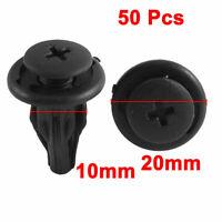 50 Pcs Black Rivet Splash Guard Fastener Moulding Clips 10mm Hole Dia for Toyota
